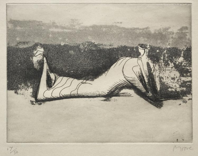 Draped Reclining Figure 1, gravieren von Henry Moore (1898-1986, United Kingdom)