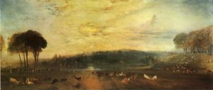 William Turner - der see Petworth Sonnenuntergang  kämpfen  Böcke