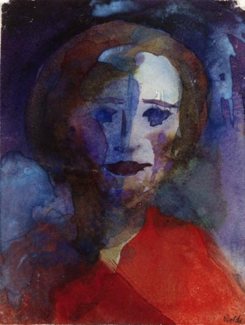dame in rot von Emile Nolde (1867-1956, Germany)