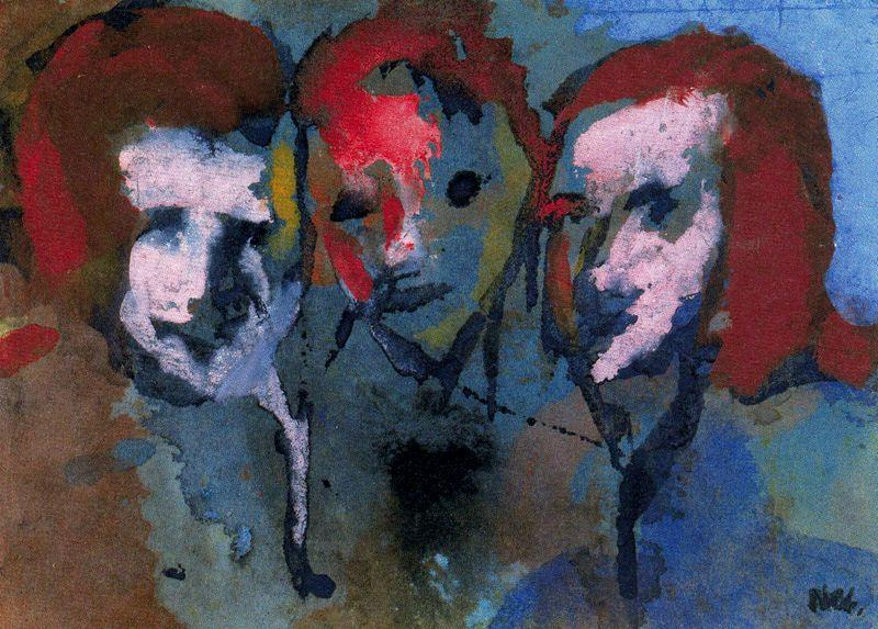 Theree Heads von Emile Nolde (1867-1956, Germany)