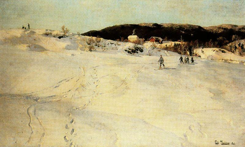 a winter tag in norwegen von Frits Thaulow (1847-1906, Norway)