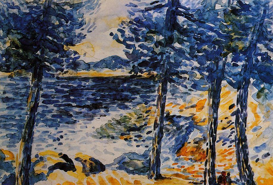 Pines by the Sea, wasserfarbe von Henri Edmond Cross (1856-1910, France)