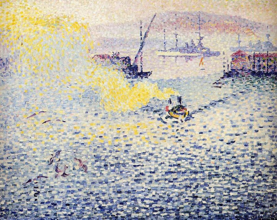 Toulon , winter morgen, öl auf leinwand von Henri Edmond Cross (1856-1910, France)