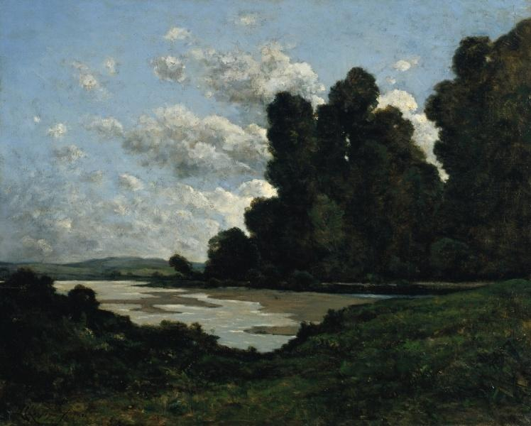Der Fluss Loire in Nevers von Henri-Joseph Harpignies (1819-1916, France)