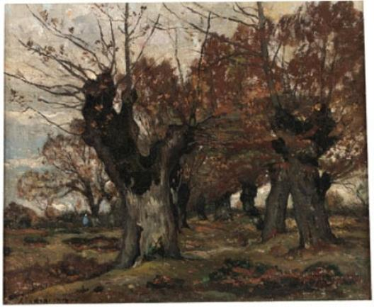 willow` in ein landschaft von Henri-Joseph Harpignies (1819-1916, France)