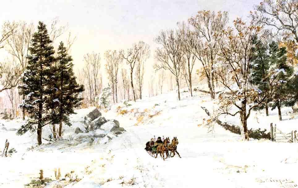 winter auf rivensdale road , Hastings-on-Hudson , new york von Jasper Francis Cropsey (1823-1900, United States)