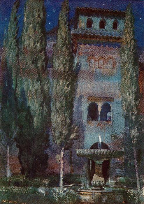 Lindaraja Yard (Night at the Alhambra) von Jorge Apperley (George Owen Wynne Apperley) (1884-1960, United Kingdom) | Malerei Kopie | ArtsDot.com