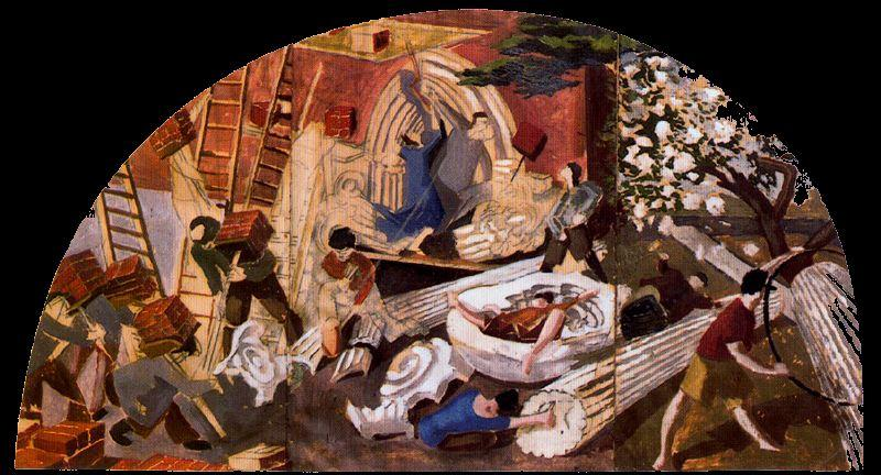 Die Erbauer des Turms von Babel von Stanley Spencer (1891-1959, United Kingdom)