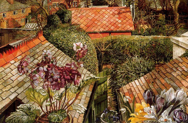 Cookham . blumen in a fenster von Stanley Spencer (1891-1959, United Kingdom)