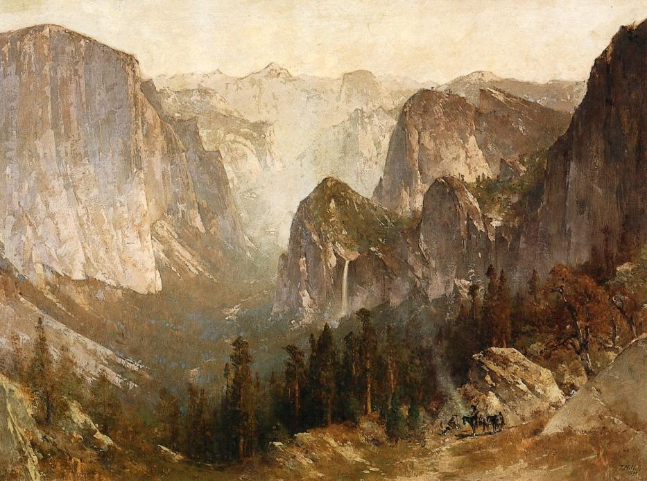 Piute Indian Encampment, Yosemite, öl auf leinwand von Thomas Hill (1829-1908, United Kingdom)