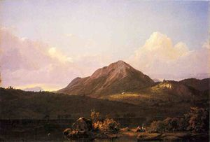 Frederic Edwin Church - Lager feuer an  der  USA  wildnis