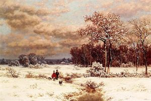 William Mason Brown - kinder Ein  schneeig  Landschaft ein