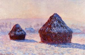 Claude Monet - Grainstacks am Morgen Schnee  wirkung