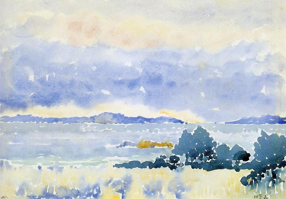 Land am Meer, Aquarell von Henri Edmond Cross (1856-1910, France)