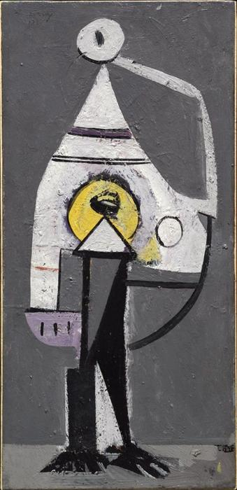 The Barber (Composition No. 5), öl auf tafel von Arshile Gorky (1904-1948, Turkey)
