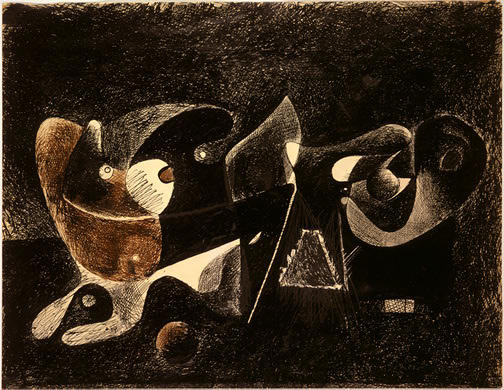 Night-time, Enigma und Nostalgie, 1934 von Arshile Gorky (1904-1948, Turkey)