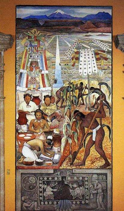 Die Huastec Civilisation, 1950 von Diego Rivera (1886-1957, Mexico)