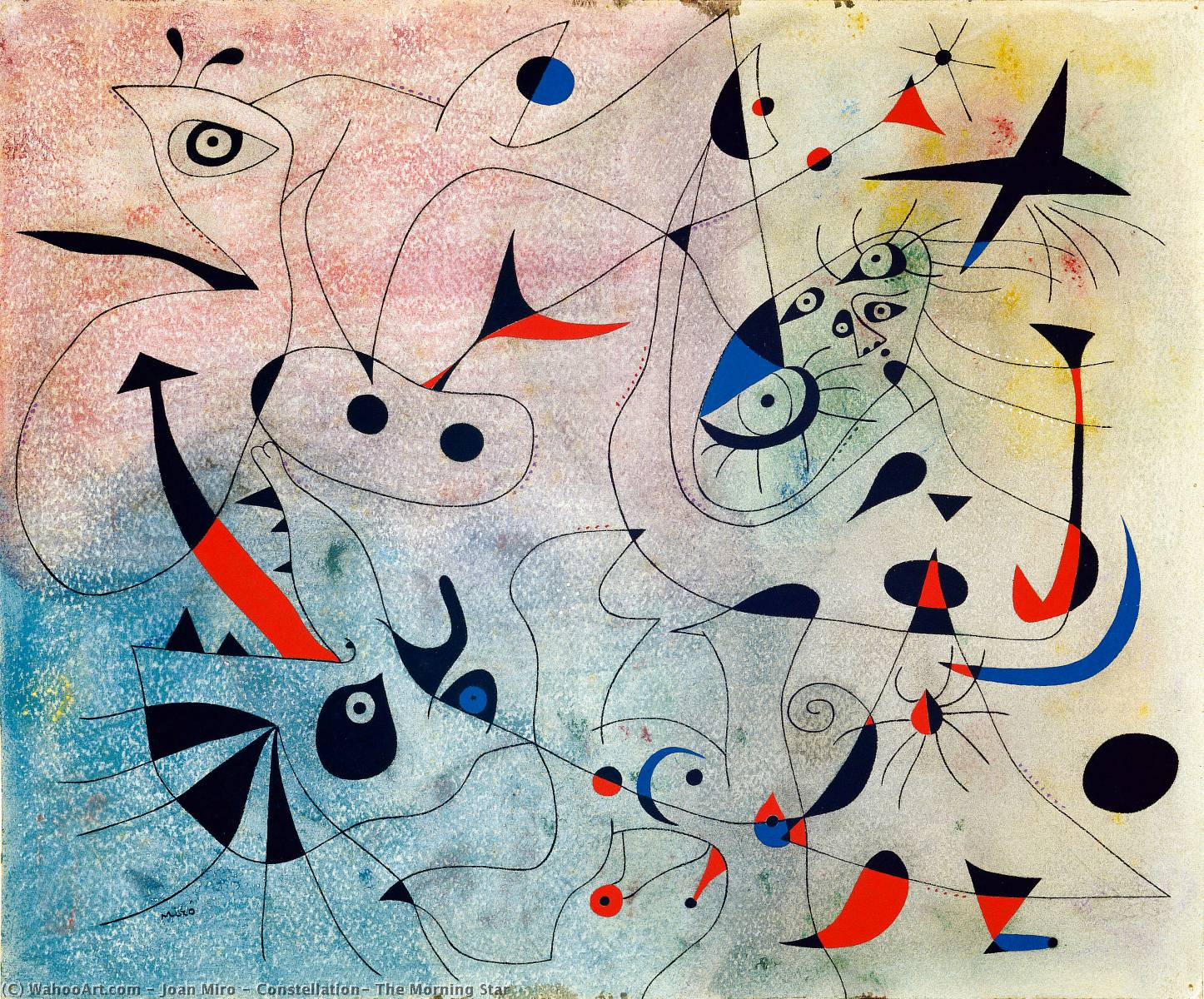 Konstellation : der morgen stern, Gouache von Joan Miro (1893-1983, Spain)