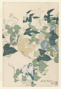 Katsushika Hokusai - Morning Glories in Blüten und Knospen