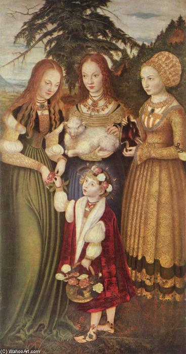 Saints Dorothea, Agnes und Kunigunde, öl von Lucas Cranach The Elder (1472-1553, Germany)