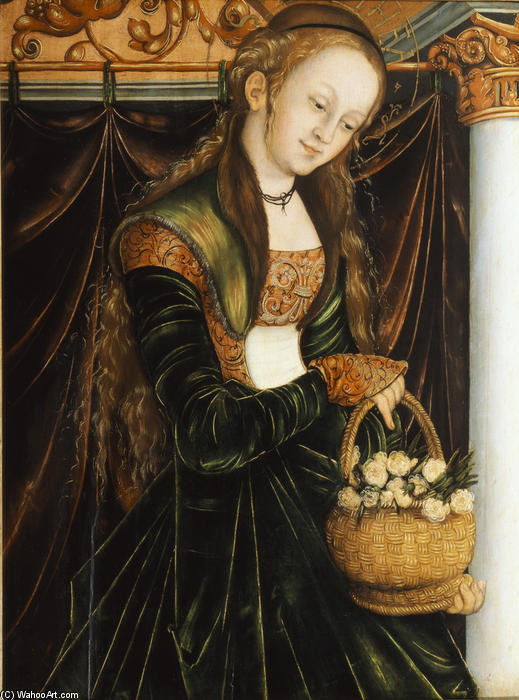 St. Dorothea, tempera von Lucas Cranach The Elder (1472-1553, Germany)
