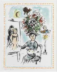Marc Chagall - A Painer mit Kronleuchter
