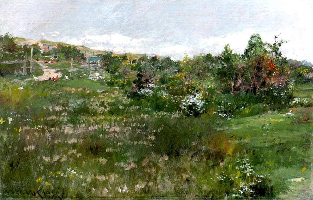Shinnecock Landscape 02, öl auf tafel von William Merritt Chase (1849-1916, United States)