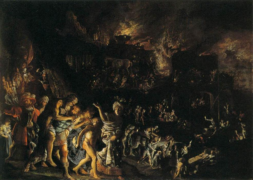 The Burning of Troy, öl auf kupfer von Adam Elsheimer (1578-1610, Germany)