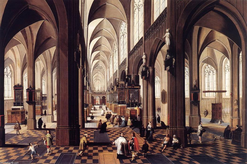 Inneres of Antwerp Kathedrale, öl von Peeter Neeffs The Younger (1620-1675, Belgium)