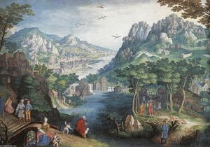 Gillis Van Coninxloo - Mountain landschaft mit fluss ..
