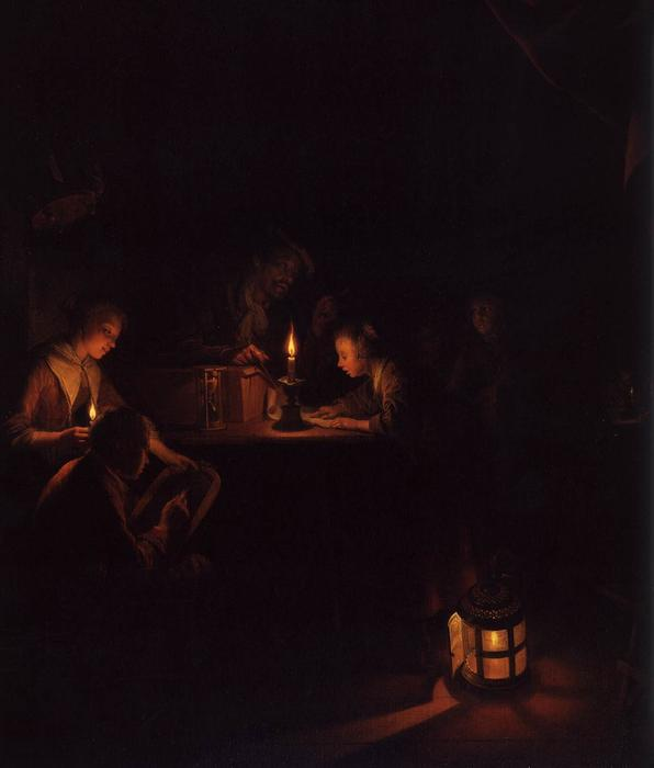 The Night School (Detail), öl auf tafel von Gerrit Dou (1613-1675, Netherlands)