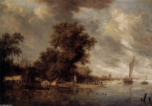 Salomon Van Ruysdael - Fluss-Landschaft in Arnheim