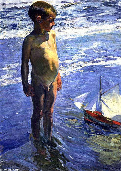 The Little Boatman, öl auf leinwand von Joaquin Sorolla Y Bastida (1863-1923, Spain)