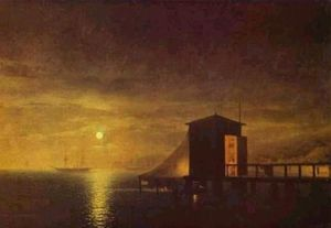 Ivan Aivazovsky - Mondnacht. A Bathing Hut in Feodosia.