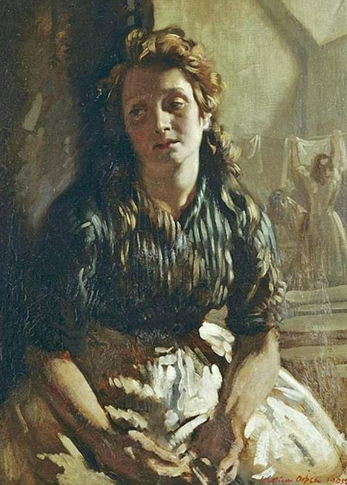 anhaltend, öl an segeltuch von William Newenham Montague Orpen (1878-1931, Ireland)