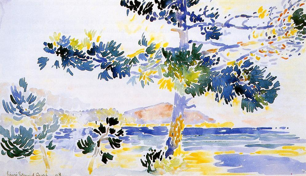 Saint-Clair Landschaft, Aquarell von Henri Edmond Cross (1856-1910, France)