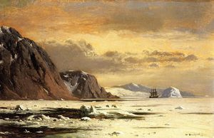 William Bradford - Seelandschaft mit Eisberge