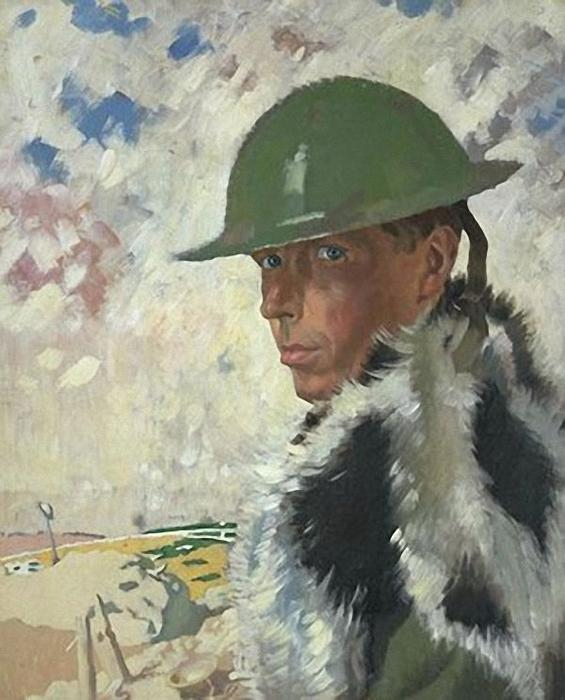 Selbstporträt in Helmet, 1917 von William Newenham Montague Orpen (1878-1931, Ireland)