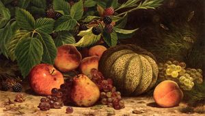 William Mason Brown - stillleben mit melone , Traube..