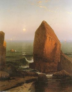 Alfred Thompson Bricher - Sunset-Moonrise , auf eisen round island , Herr . Wüste , Usa