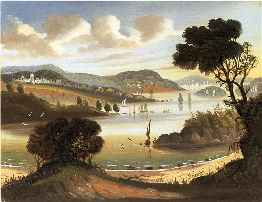 West Point on der Hudson Fluss, öl an segeltuch von Thomas Chambers (1808-1869)