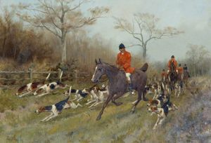 Thomas Blinks - Jäger And Hounds In einer Wald..