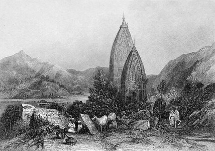 Hindu Tempel von Mahadeo In The Mountains Sivalic von Thomas Colman Dibdin (1810-1893, United Kingdom) | Museum Kunstreproduktionen | ArtsDot.com