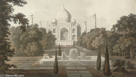 die taje mahel , garten-ansicht , Agra von Thomas And William Daniell (1769-1837, United Kingdom)