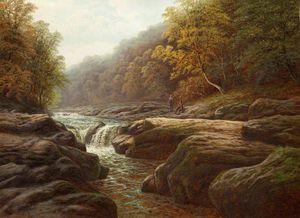 William Mellor - a fluss szene mit anglers