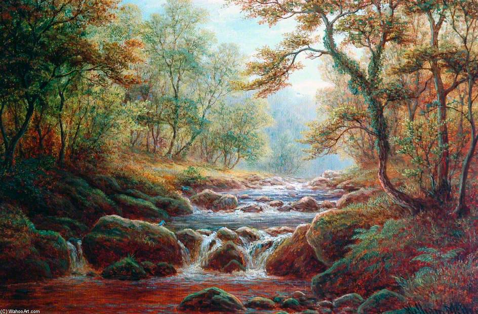 Posforth Ghyll, Bolton Holz von William Mellor (1851-1931, United Kingdom)