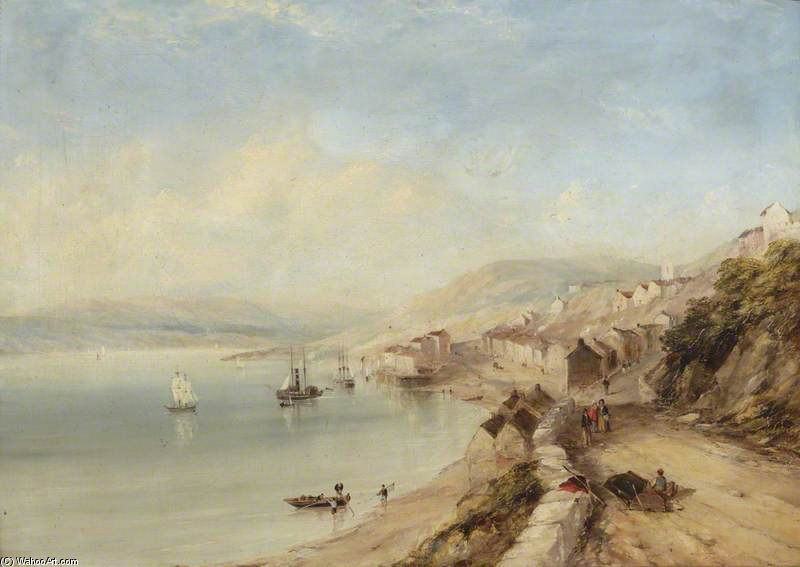 A Lakeside Village von John Wilson Carmichael (1800-1868, United Kingdom)
