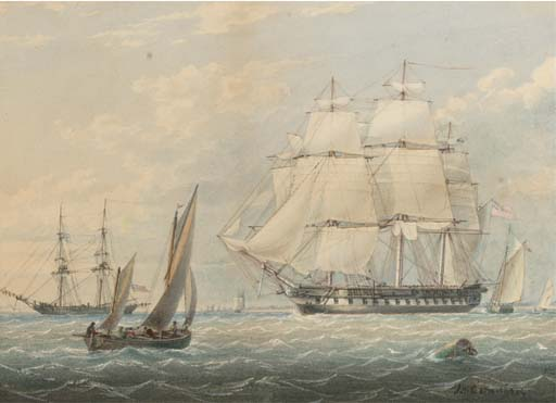 A Royal Naval Frigate Inmitten Andere Versand an Spithead von John Wilson Carmichael (1800-1868, United Kingdom)
