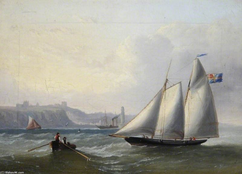 Ein Segelboot vor Whitby, North Yorkshire von John Wilson Carmichael (1800-1868, United Kingdom)