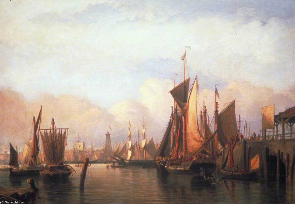 Billingsgate Wharf, London von John Wilson Carmichael (1800-1868, United Kingdom)